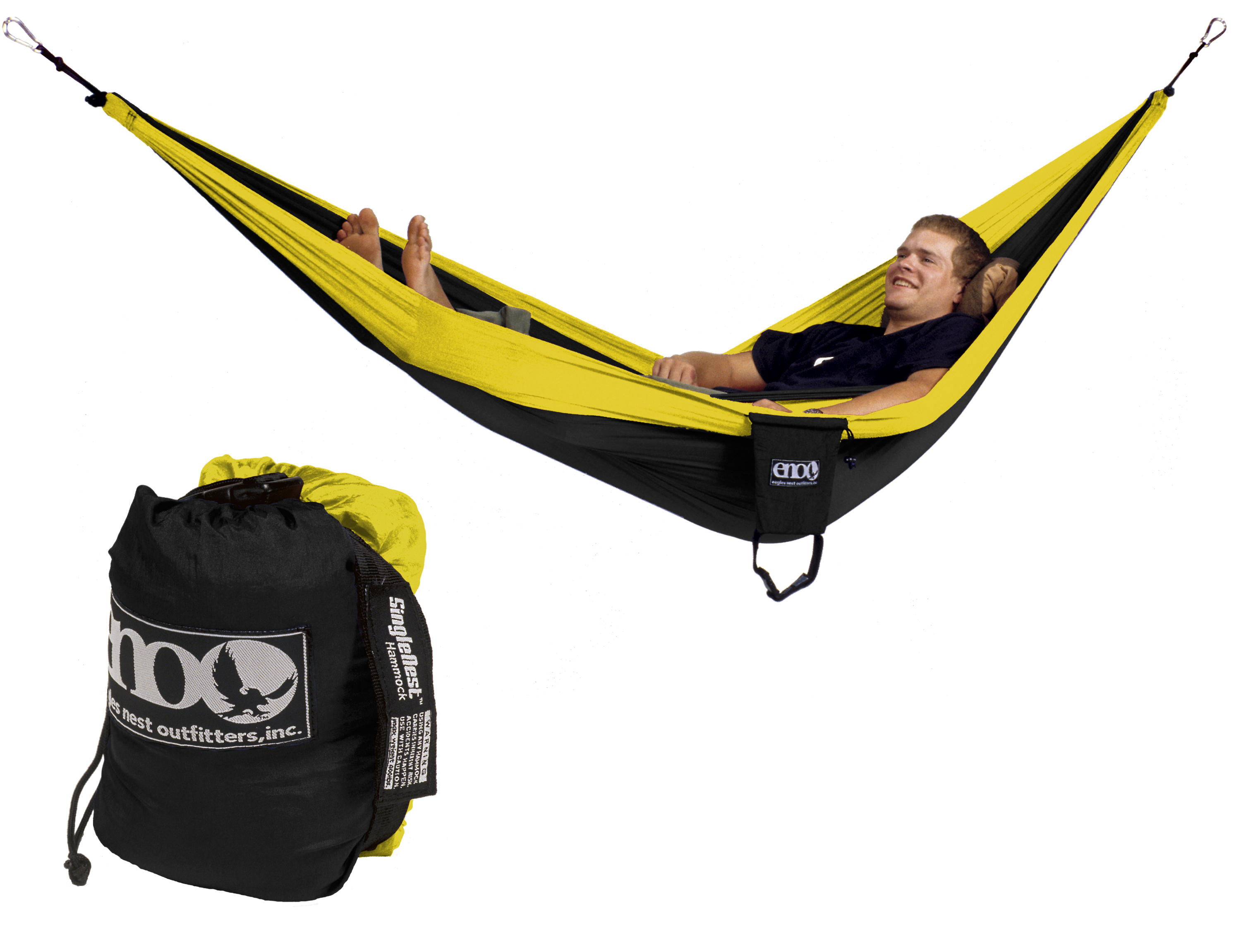 Eno Single Nest Hammock Black Yellow One Person New
