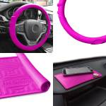 Silicone Steering Wheel Cover Grip Marks W Hot Pink Dash Mat For Auto Ebay
