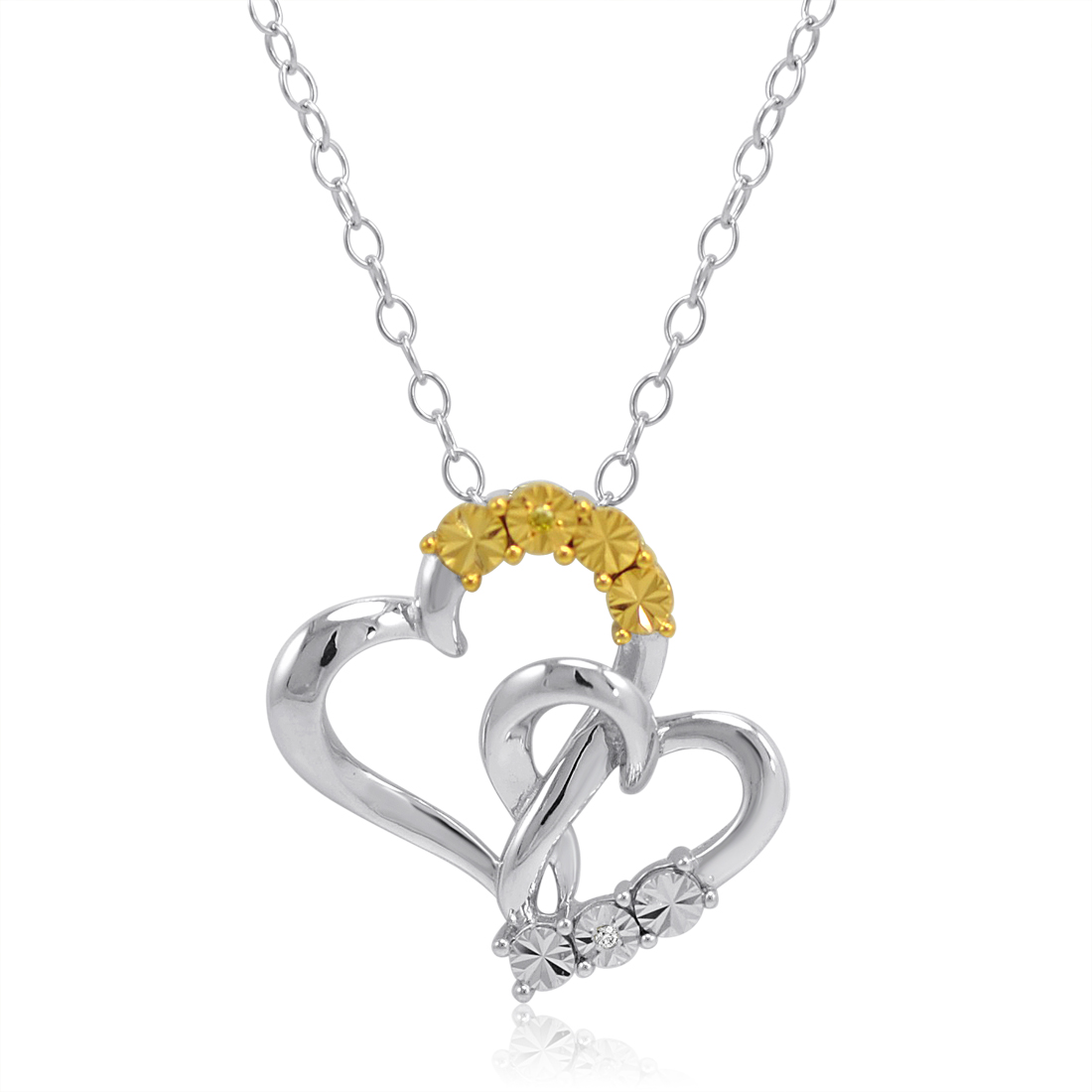 White And Yellow Diamond Heart Pendant Necklace In