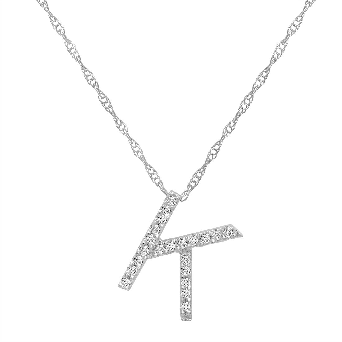 14k White Gold Diamond K Initial Necklace In A Wood Box
