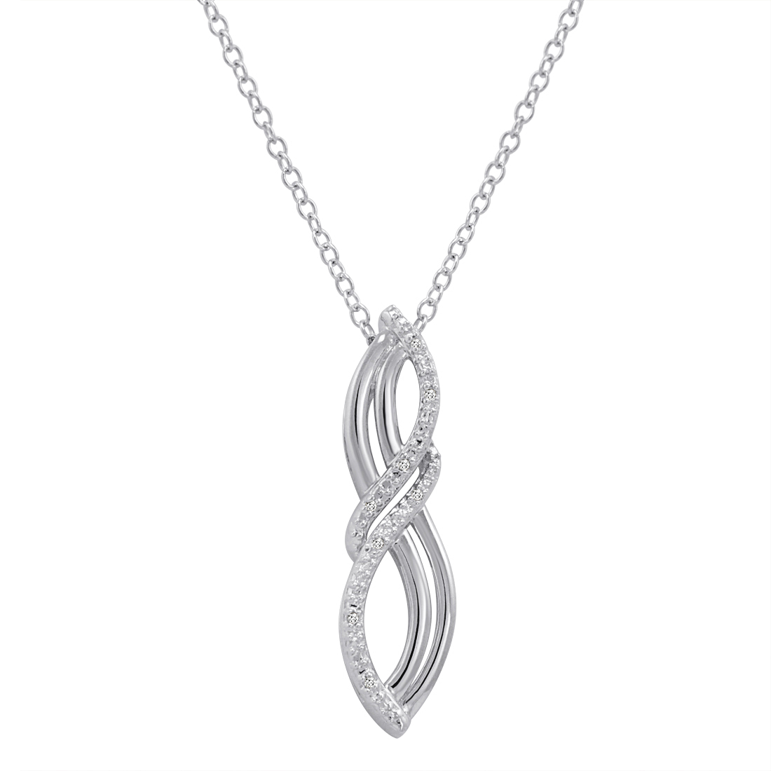 Sterling Silver Natural Diamond Infinity Pendant Necklace
