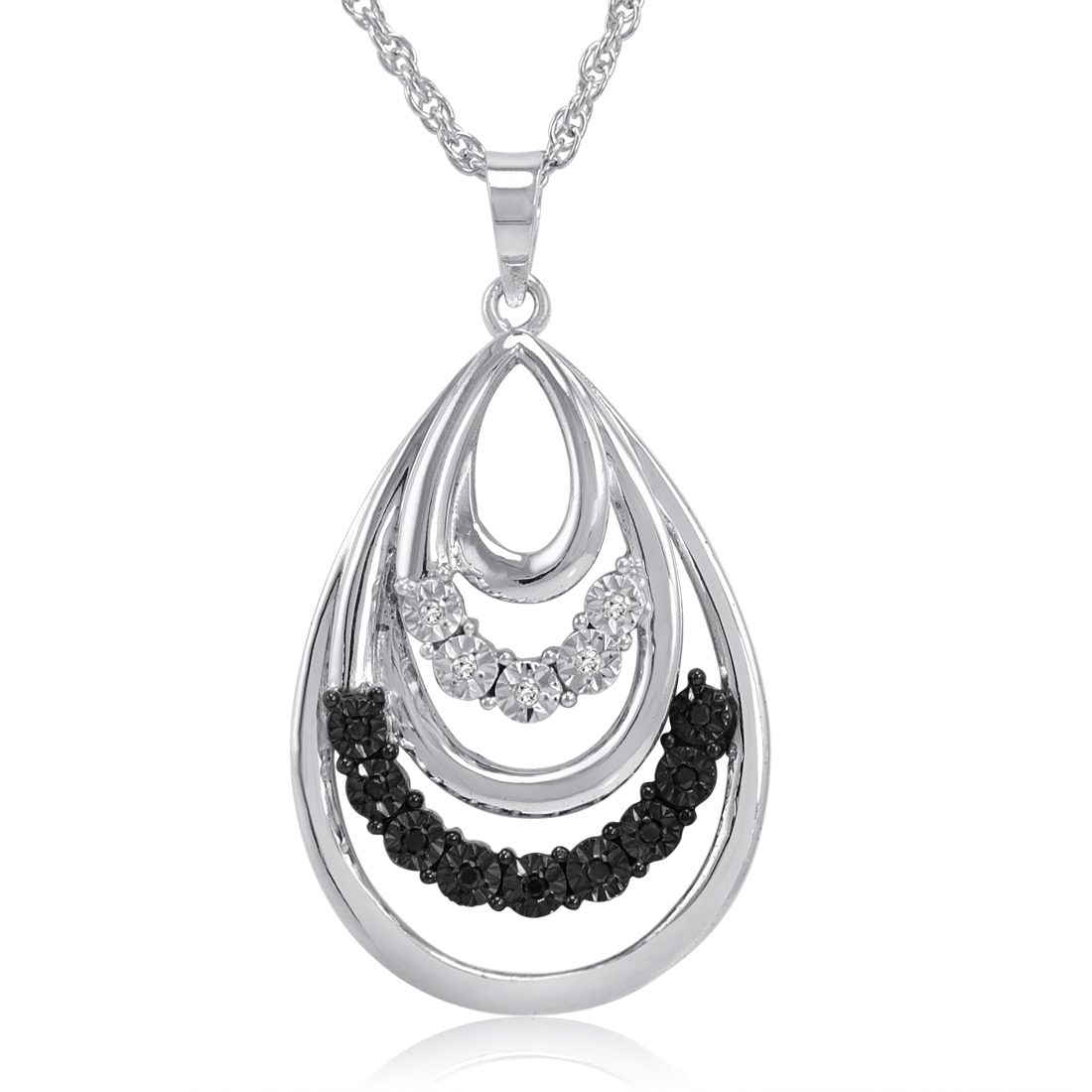 Black And White Tear Drop Pendant Necklace In Sterling