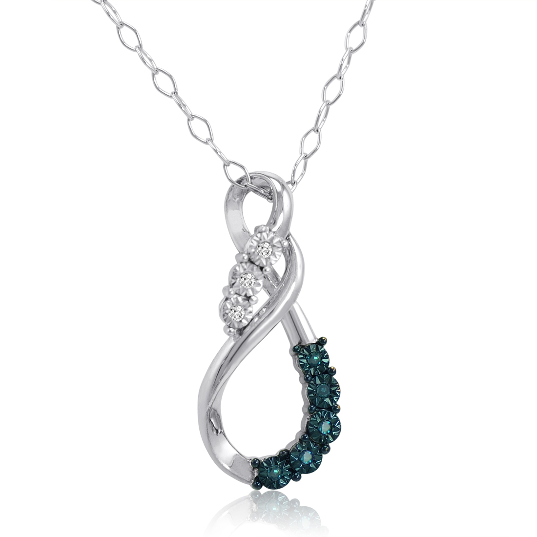 Blue And White Diamond Swirl Pendant In 925 Sterling