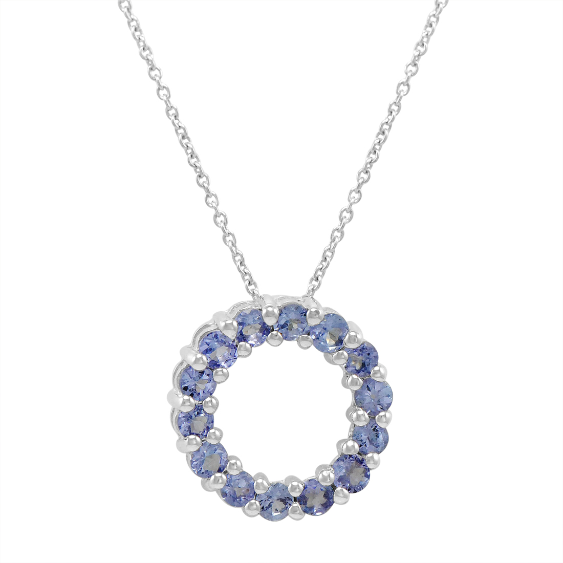 1 50ct Tanzanite Circle Pendant In Sterling Silver 18