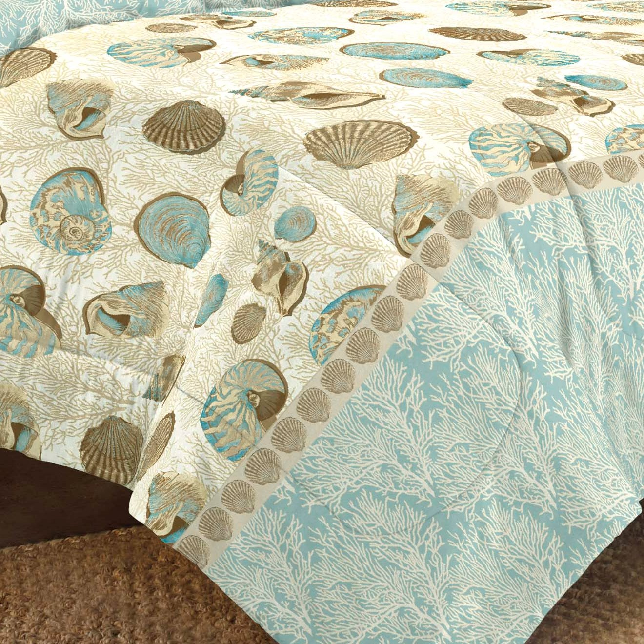 New Sea Breeze Blue Seashell Shore Beach House Bedding