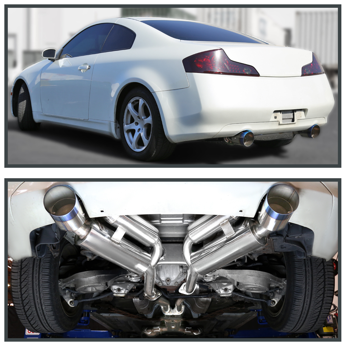 details about fits 2003 2007 infiniti g35 coupe 2dr dual burnt tip catback exhaust system