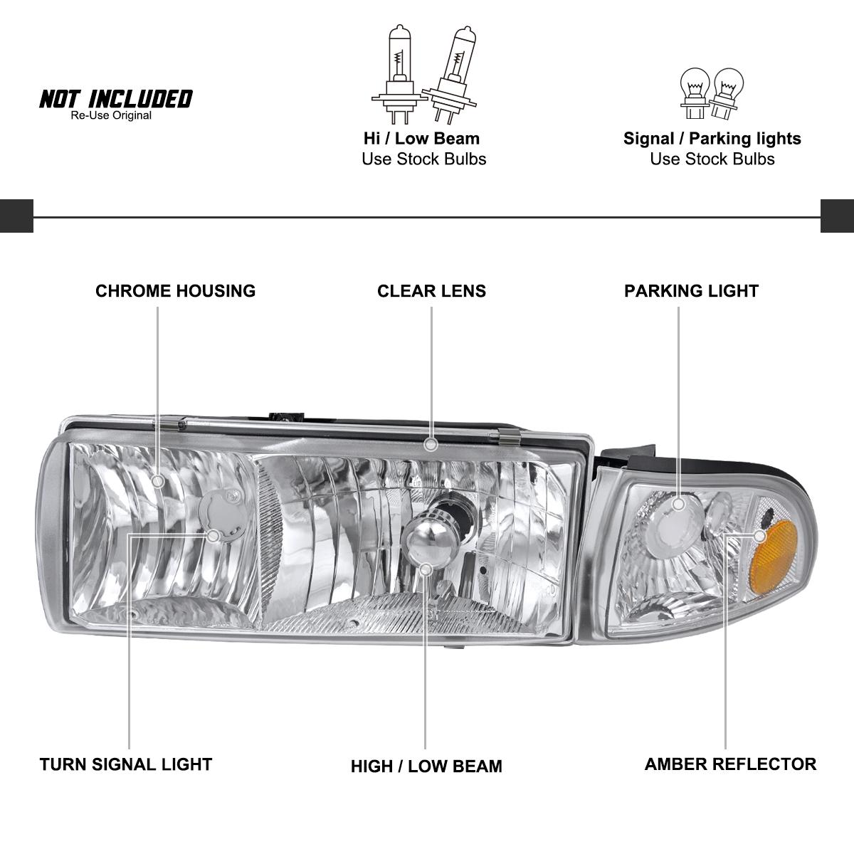 For 91 96 Chevy Caprice 94 96 Impala Headlights W Corner