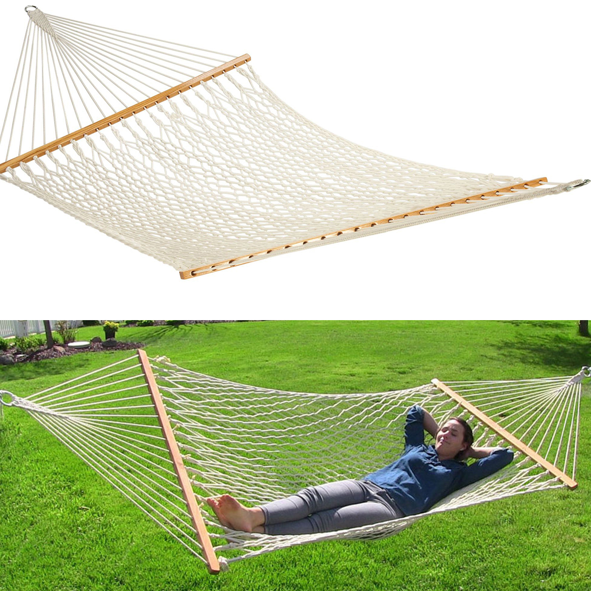 Double Hammock Tree 2 People Person Patio Bed Swing New