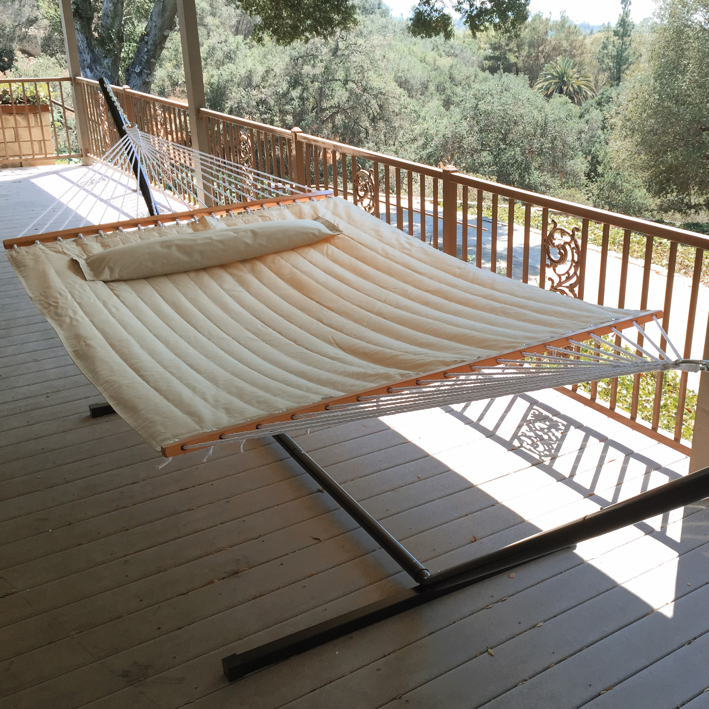 New Outdoor Swing Quilted Double Bar Pillow Hammock Patio