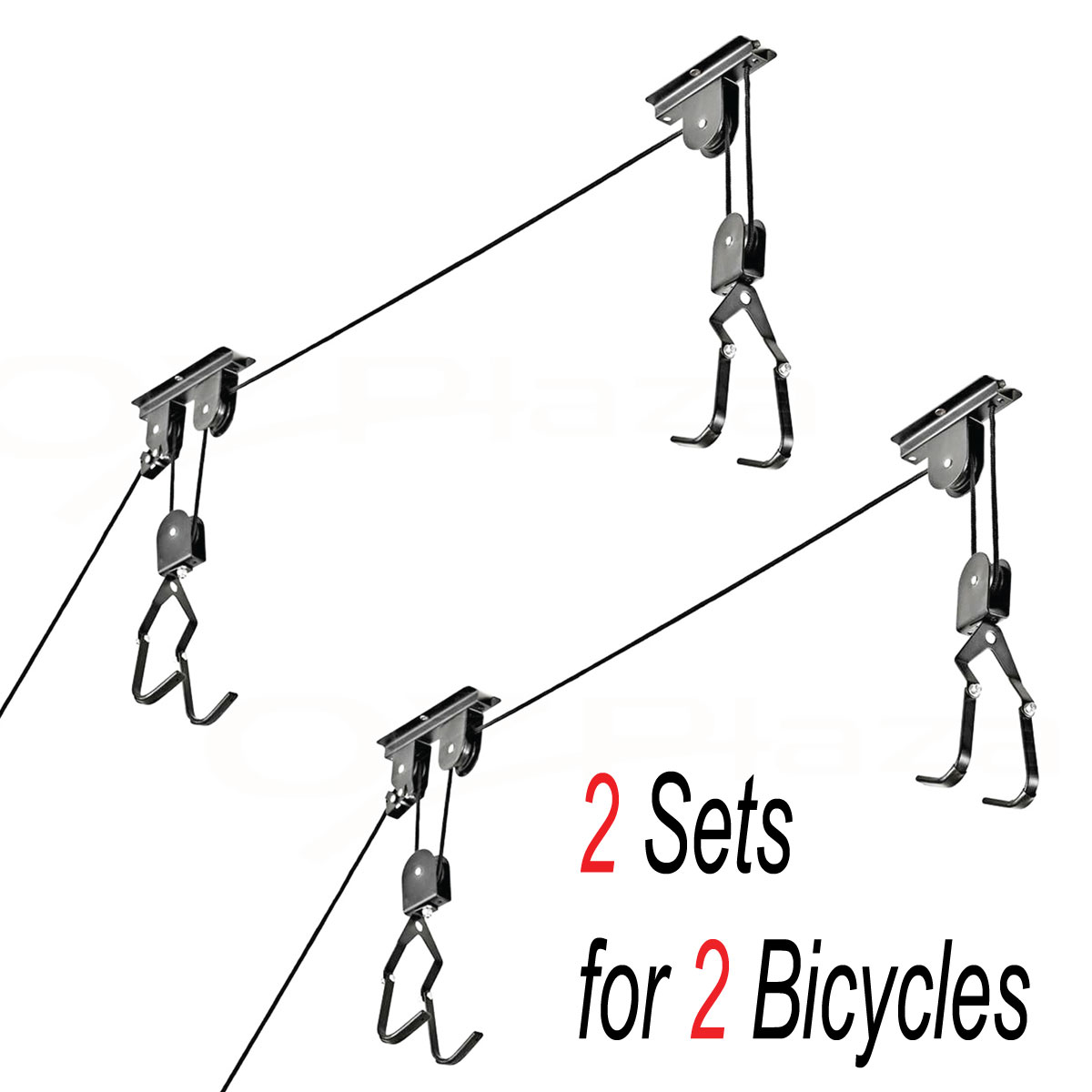 Ceiling Mounted Roof Bicycle Lift Garage Pulley Racks Stand Storage Set Of 2