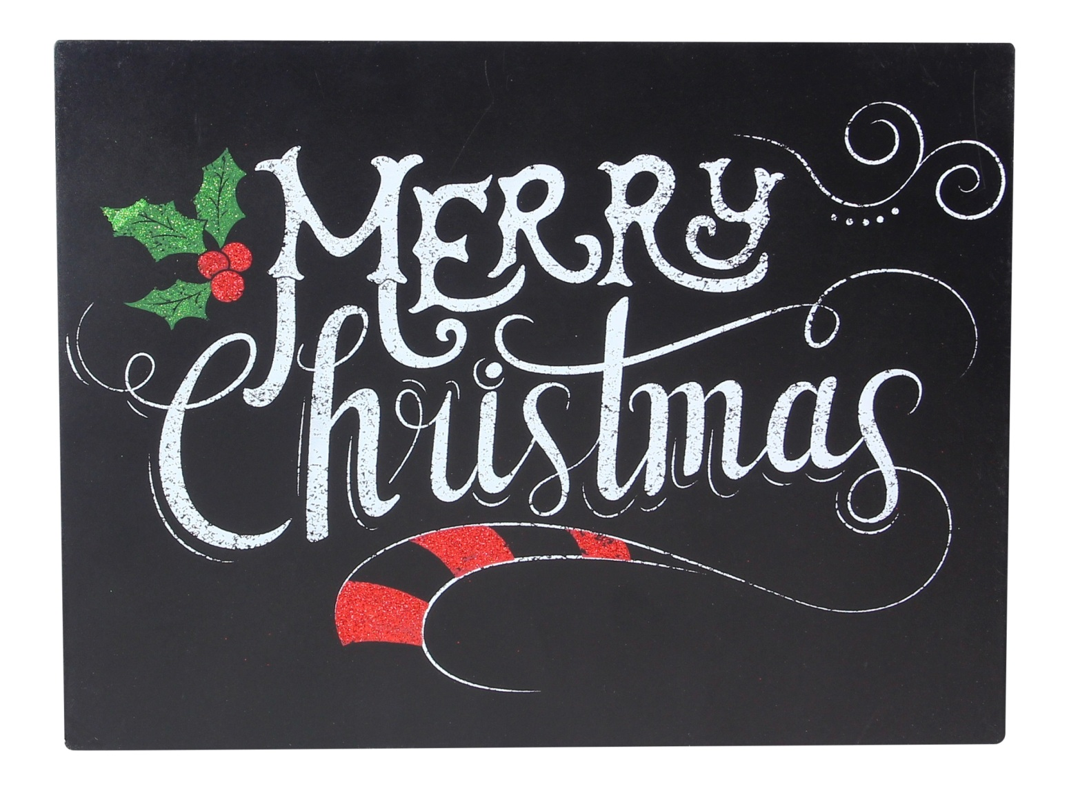 Merry Christmas Sign Faux Chalkboard Painted 12 Inch