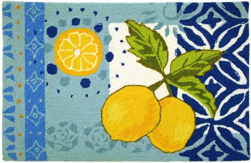Yellow Lemons Pretty Blues Kitchen Mat Area Accent Rug