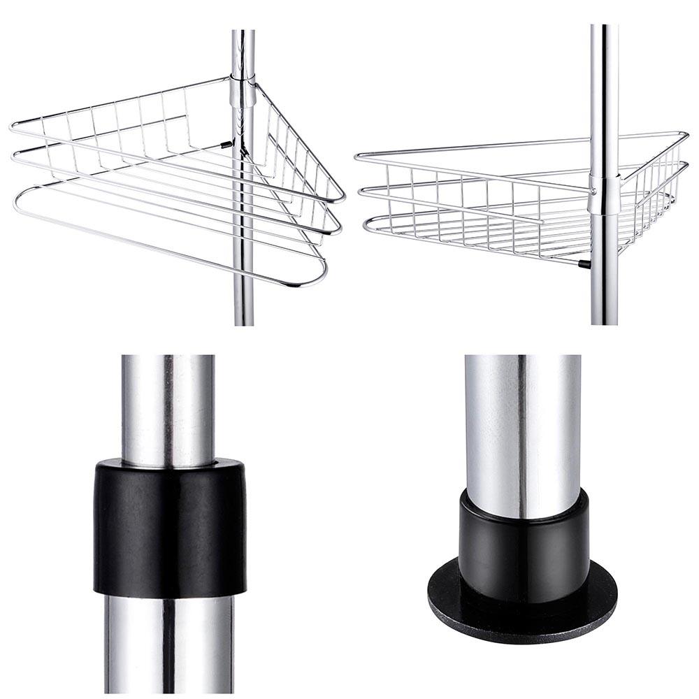 4 Layer Metal Shower Corner Pole Caddy Shelf Bathroom Bath