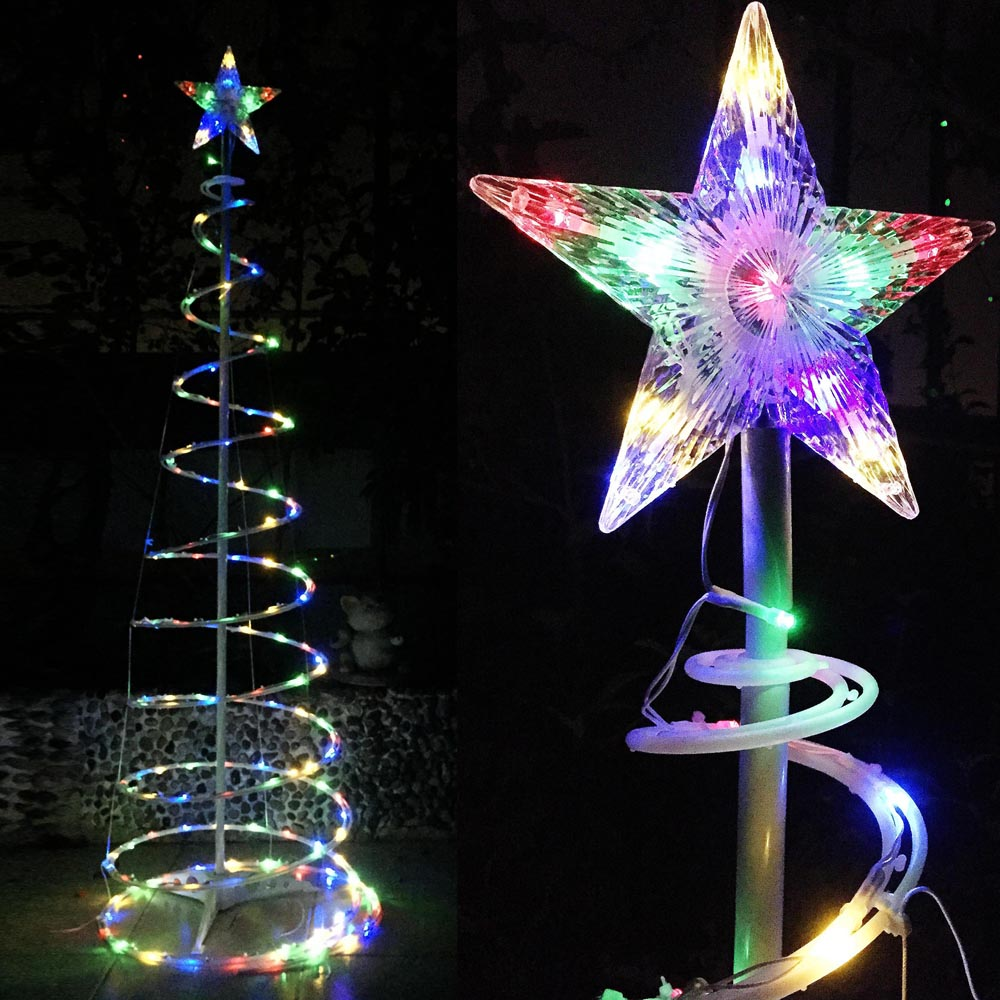 5  6  FT Christmas Xmas LED Spiral Tree Light Home Garden New Year     Multi Color Cool White light optional