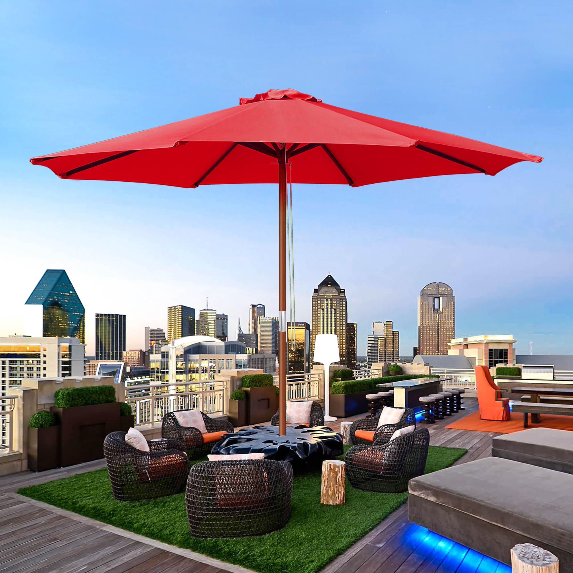 9ft wooden outdoor patio umbrella pulley garden yard beach wedding sunshade red 637509491154 ebay