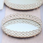 12 X8 Gold Metal Crystal Beaded Oval Mirror Serving Tray Wedding Decorations Ebay