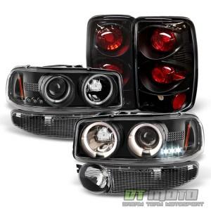 Black 20012006 GMC Yukon Sierra Denali Halo Headlights