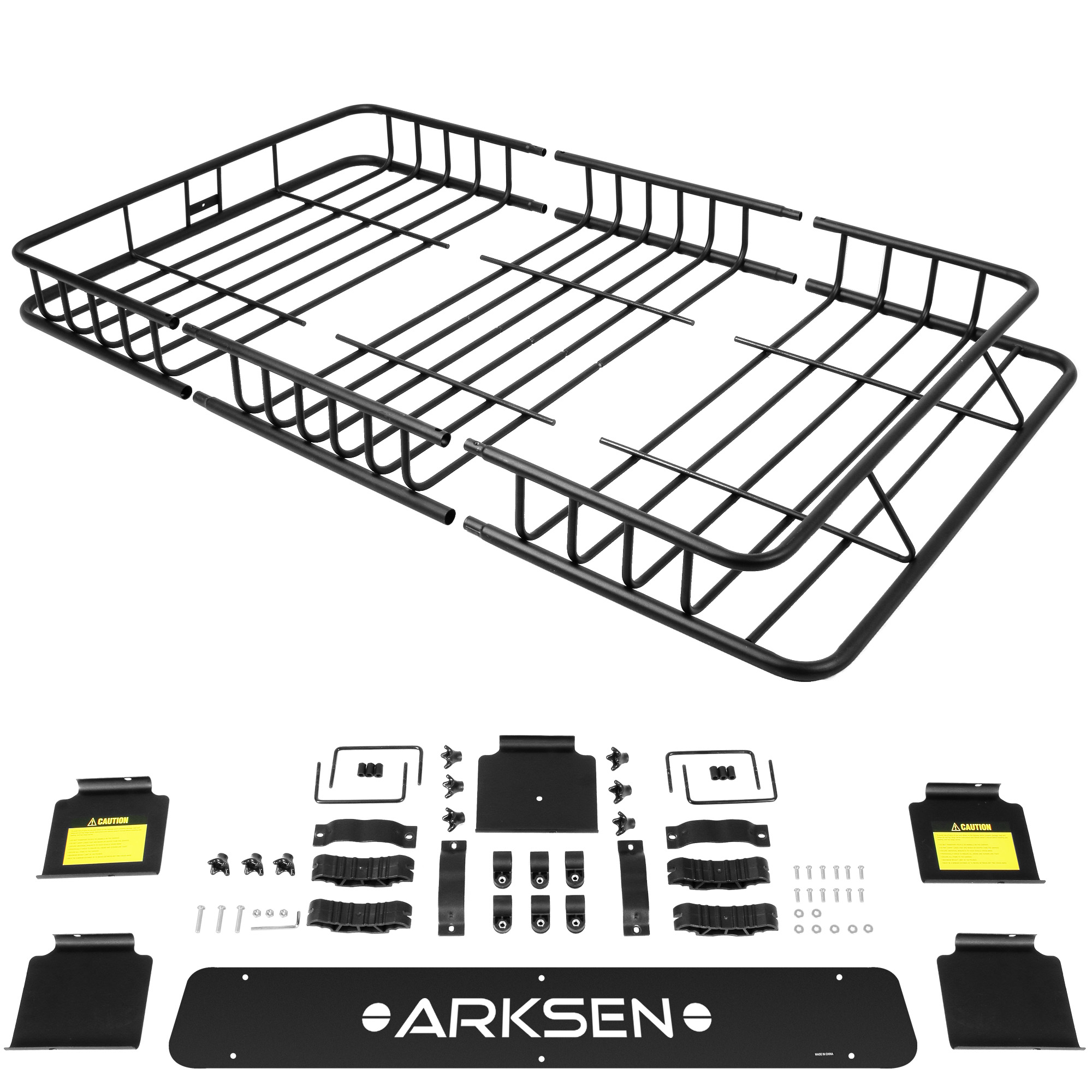 64 Universal Black Roof Rack Cargo Carrier W Extension