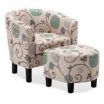 Details About Barrel Accent Tub Upholstered Chair W Ottoman Foot Rest Living Room Beige Floral