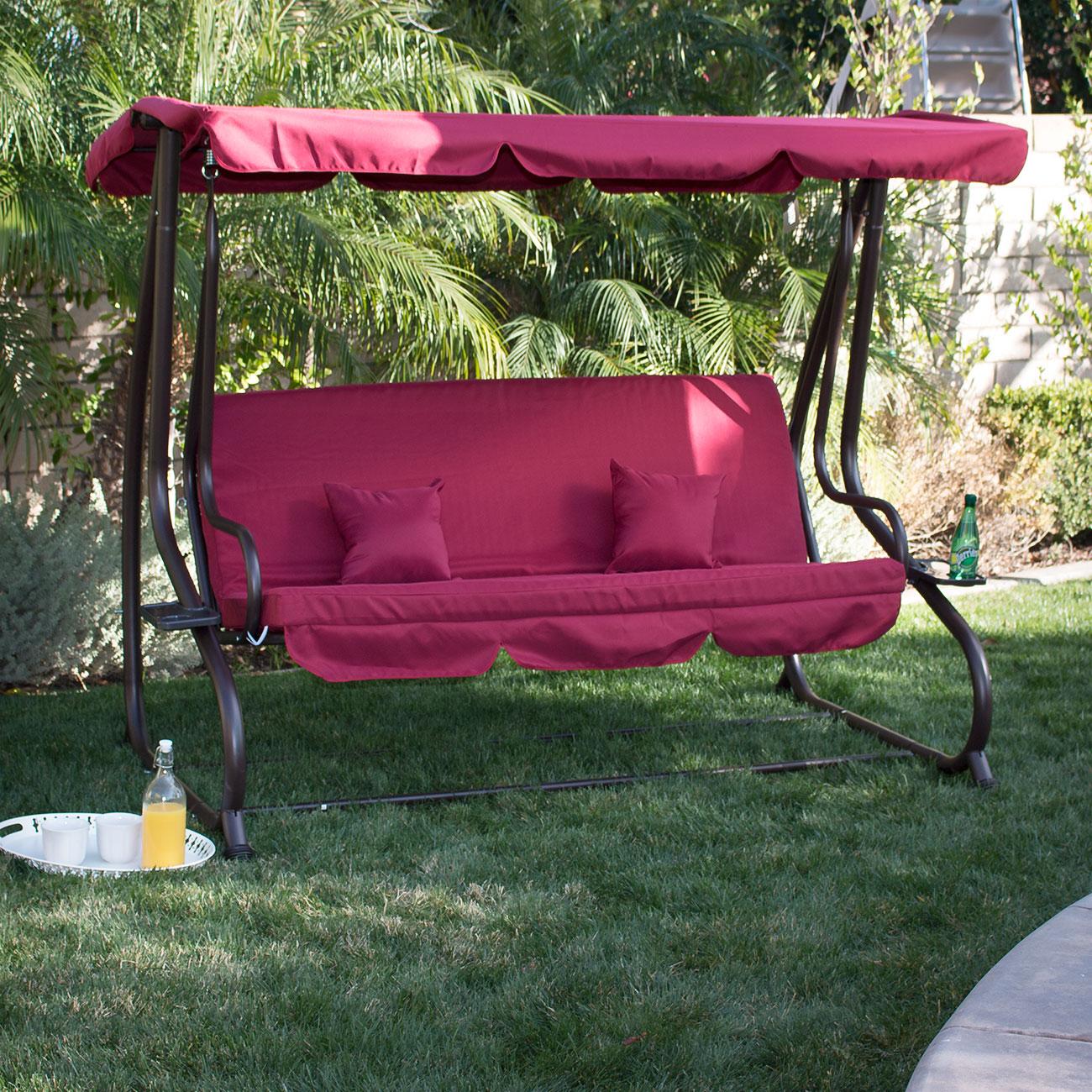 3 Person Outdoor Swing W Canopy Seat Patio Hammock
