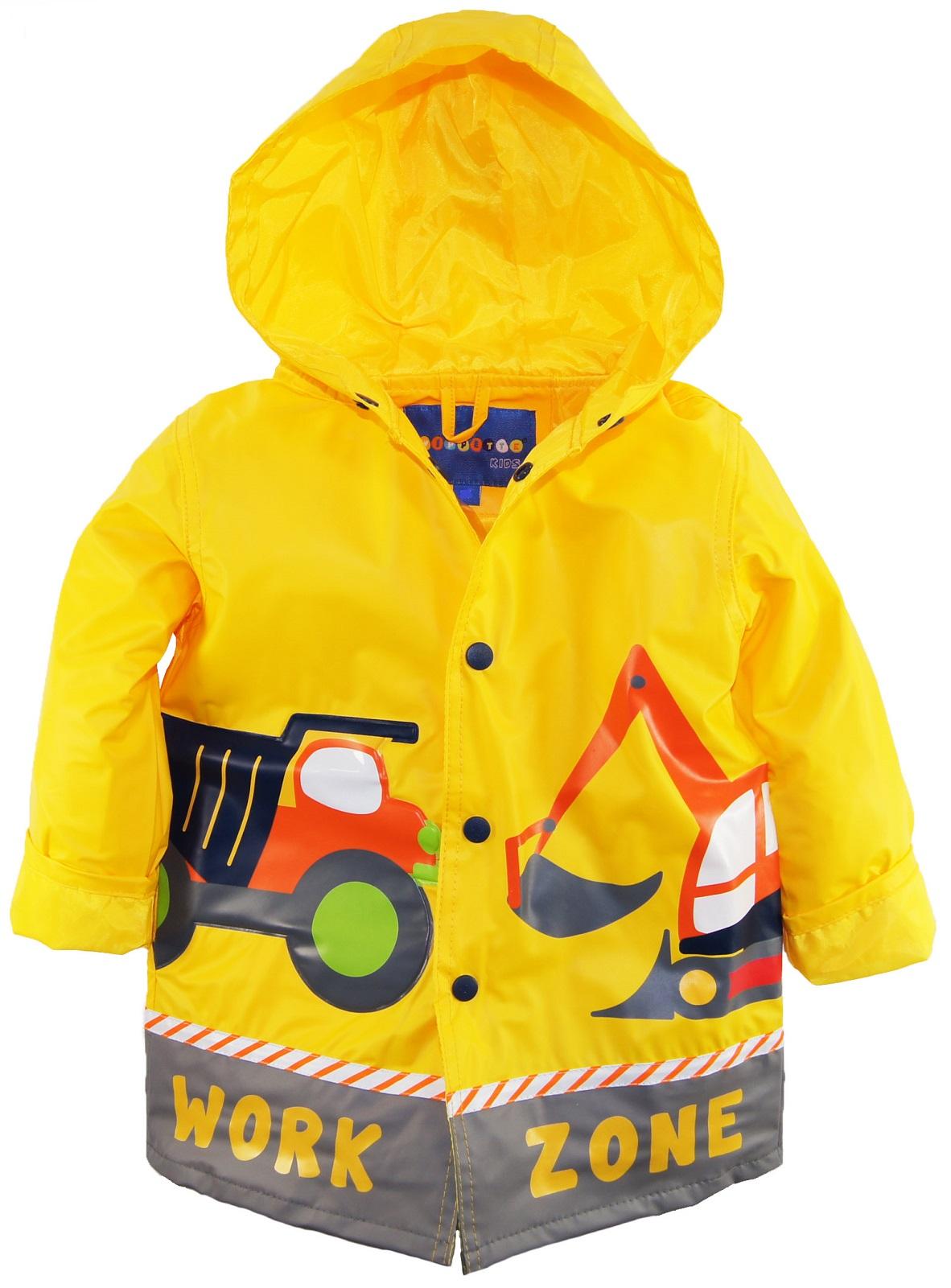 Wippette Little Boys Waterproof Hooded Construction Raincoat Jacket