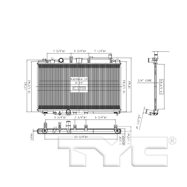 Radiator For 16 19 Honda Hrv 1 8l L4 Single Row Ho