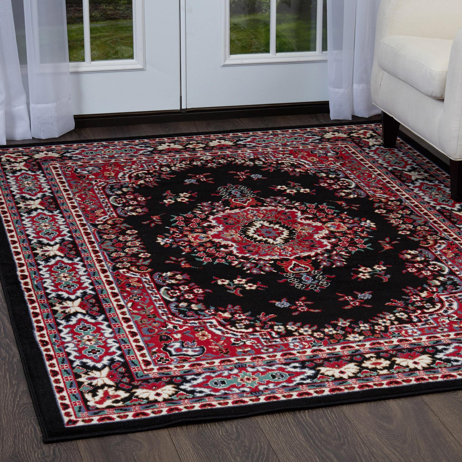 Details About Persien Black Area Rug 2 X 8 Runner Oriental Carpet 69 Actual 1 10 X 7 3