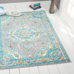 Details About Gray Blue Faded Modern Transitional Oriental Area Rug Bordered Medallion Carpet