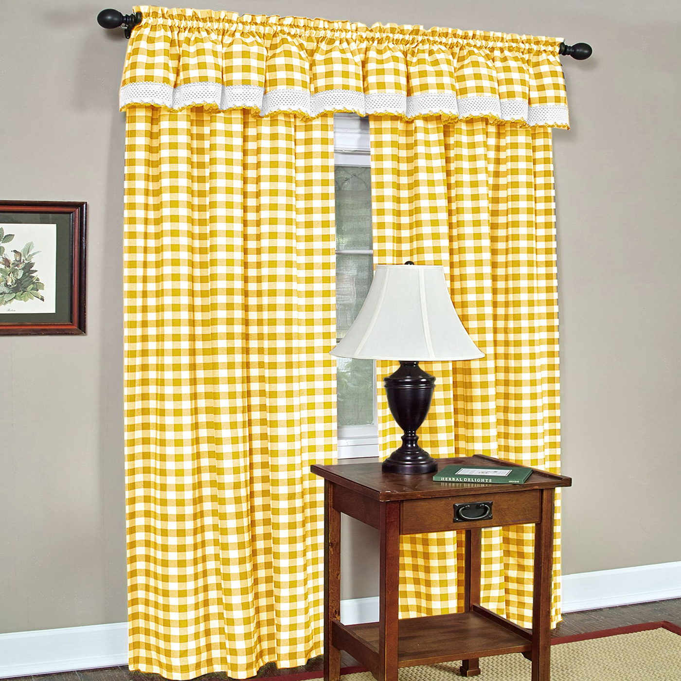 Yellow Checkered Plaid Gingham Kitchen Window Curtain