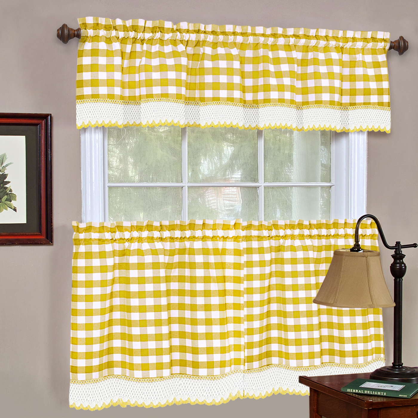 Window Curtain Tier Pair Amp Valance 3pc Set Checked Plaid