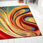 Details About Modern Rug Contemporary Area Rugs Multi Geometric Swirls Lines Abstract Carpet