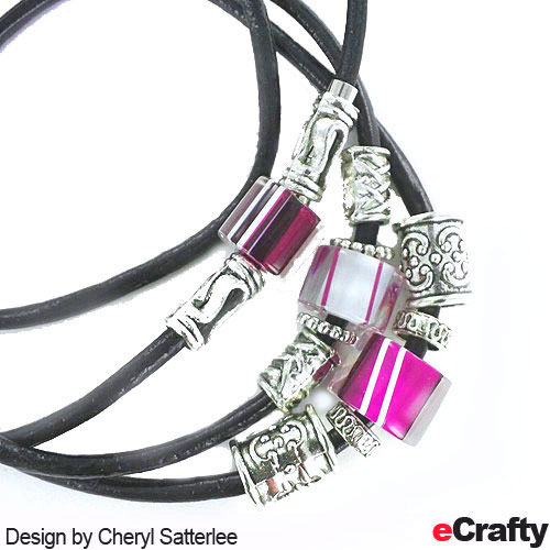 eCrafty.com's 369L Leather wrap bracelet, strung with our Fire Designs glass sliders, and our large holed bali bead mix. Design by Cheryl Satterlee