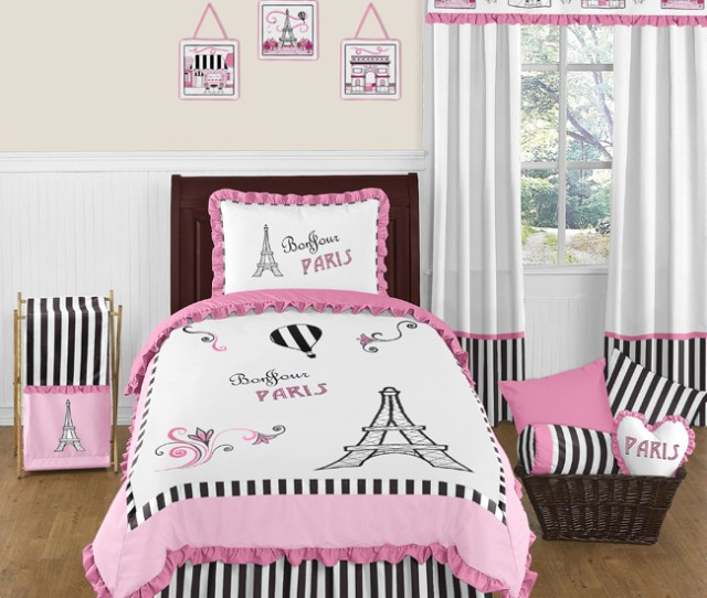 Sweet Jojo Designs Pink Black Paris France Twin Girls Teens Luxury Bedding Set  Ebay
