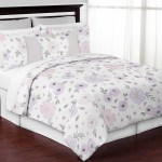 Watercolor Floral Shabby Chic Lavender Purple Pink Grey Full Queen Bedding Set 846480067054 Ebay