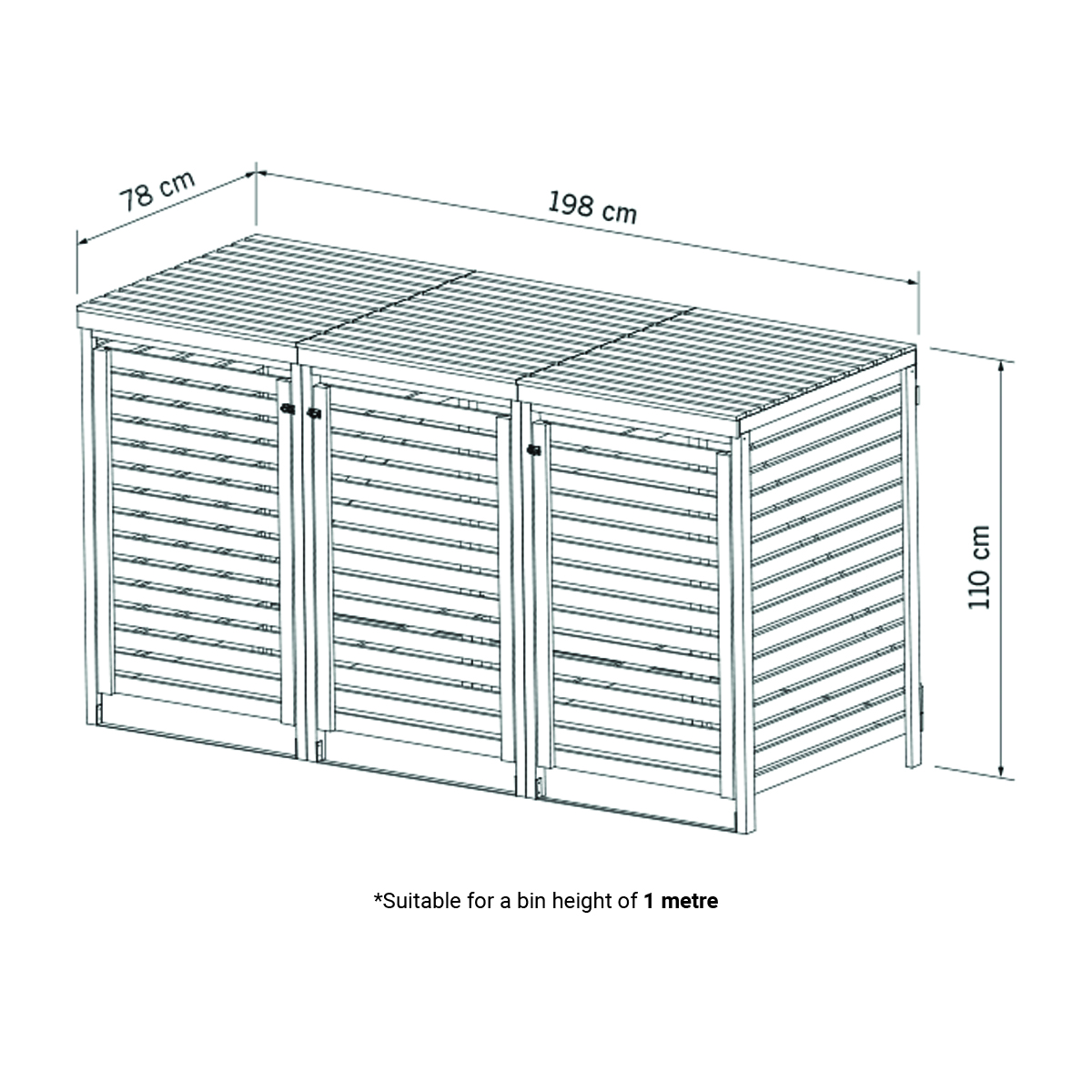 Charles Bentley Wooden Outdoor Wheelie Bin Storage Shed