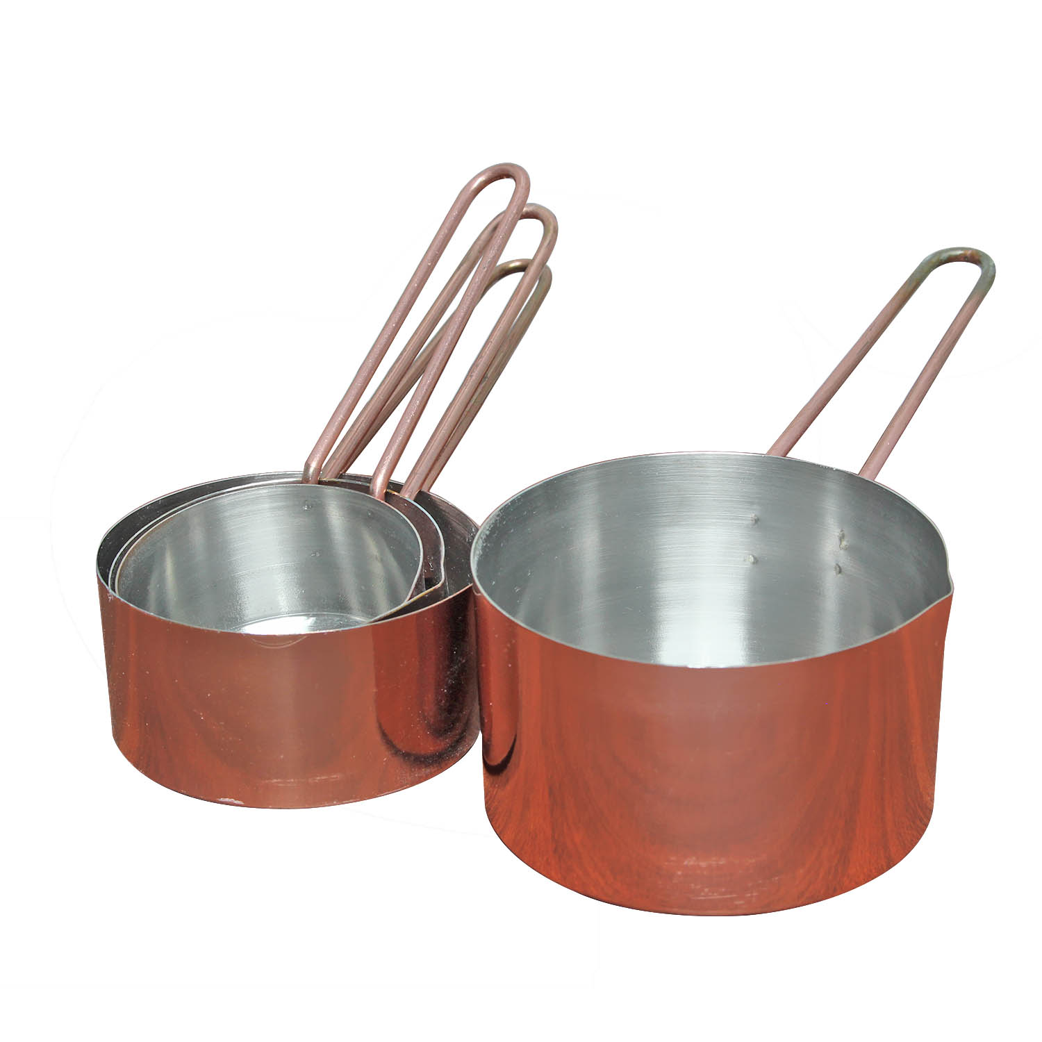 Set Of 4 Stainless Steel Copper Measuring Cups Set Baking
