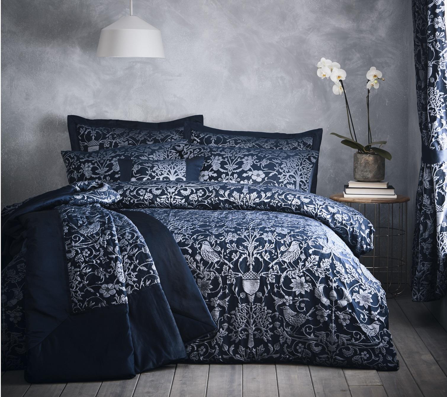 details about oak tree navy blue duvet cover jacquard floral bird double bed quilt bedding set