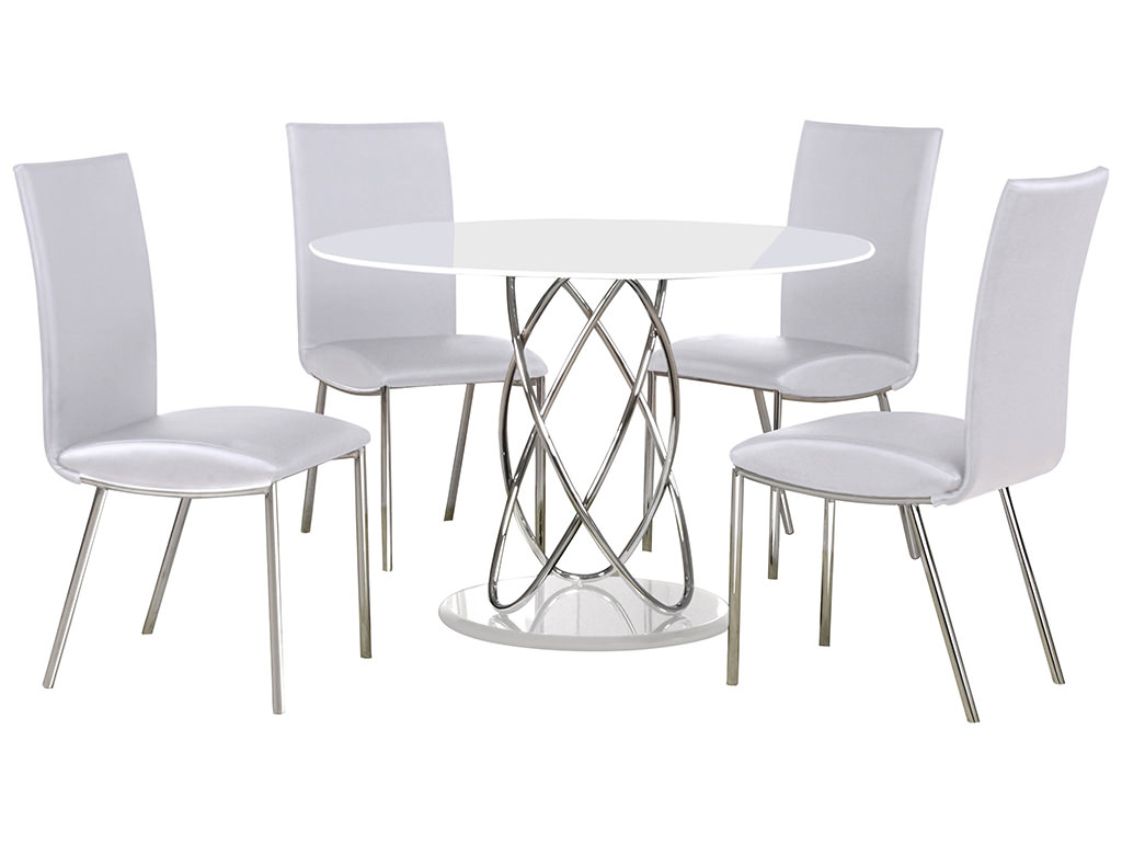 Chrome Amp Glass Round Dining Table And Chair Set With 4