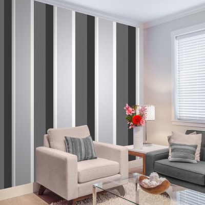 Stripe Wallpaper Bold Charcoal Grey Black White Silver ...