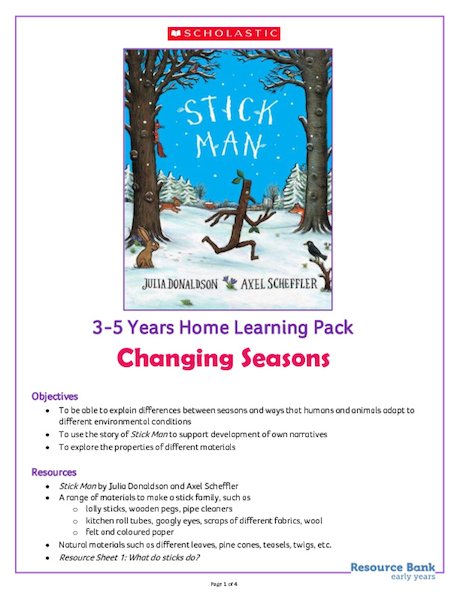 Stick Man - Home Learning Activity Pack 3-5 years