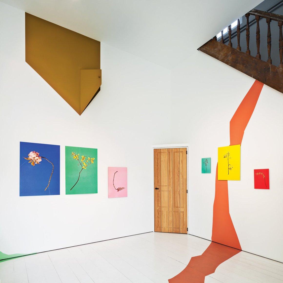 Les images par Raw Color s'accrochent dans une pièce à l'étage.