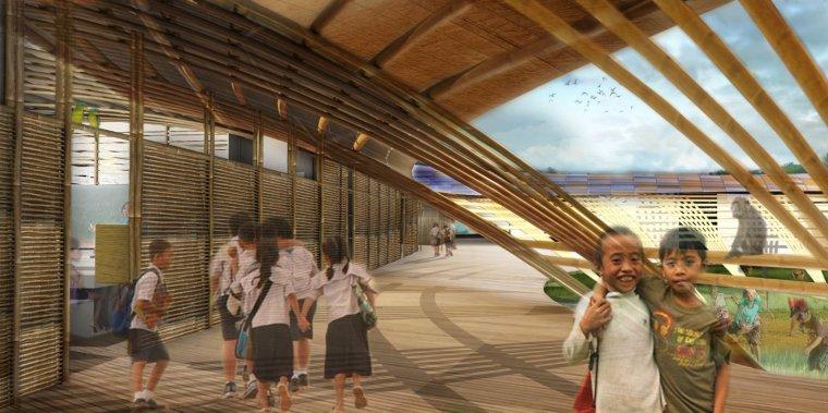 """11 Écoles innovantes et modernes où la créativité et la bonne règle de conception - Photo 8 de 11 - MAT-TER, un studio de design basé à l'extérieur de Los Angeles, a choisi le bambou comme matériau de construction principal pour sa proposition pour l'école secondaire nationale de Guiuan aux Philippines """"dans l'ordre Pour garder l'empreinte carbone aussi bas que possible à toutes les étapes de la durée de vie du bâtiment », et pour rendre l'école résistant aux typhons.  Les unités modulaires en bambou et en intérieur résistent aux effets du changement climatique et sont flexibles pour les réparations locales, si une catastrophe entraîne des dégâts.  Ces unités intérieures s'appuient mutuellement et le système de plancher est élevé au-dessus du sol sur une grille de pilotis en béton """"pour permettre au vent de passer en dessous et de protéger les inondations""""."""