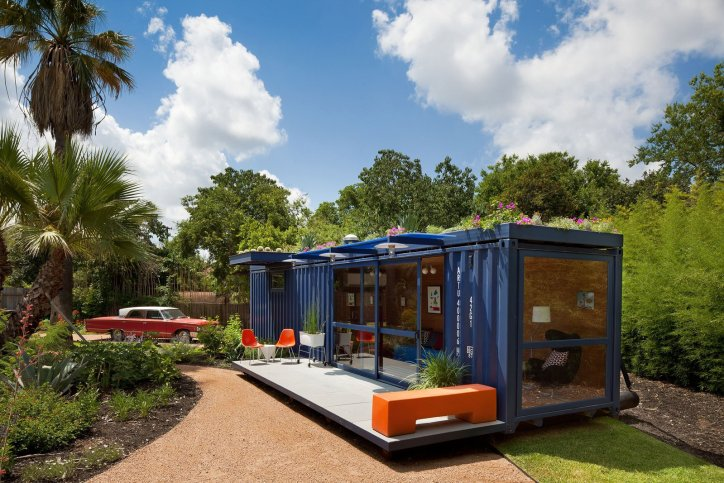 Container Homes Repurposed Shipping Containers Blue Orange Modern Contemporary Recycled Decor Metal Revamped Texas Garden Retreat Guesthouse