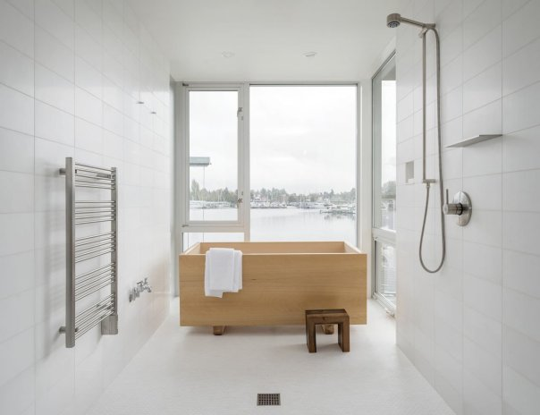 Secrets You Need to Know When Using Wood in Wet Spaces - Photo 11 of 11 - Overlooking Portage Bay in Seattle, this house was designed by Heliotrope Architects for a bachelor who longed for a simple bathroom with a Japanese-style hinoki tub that was installed in front of the windows for the water views.