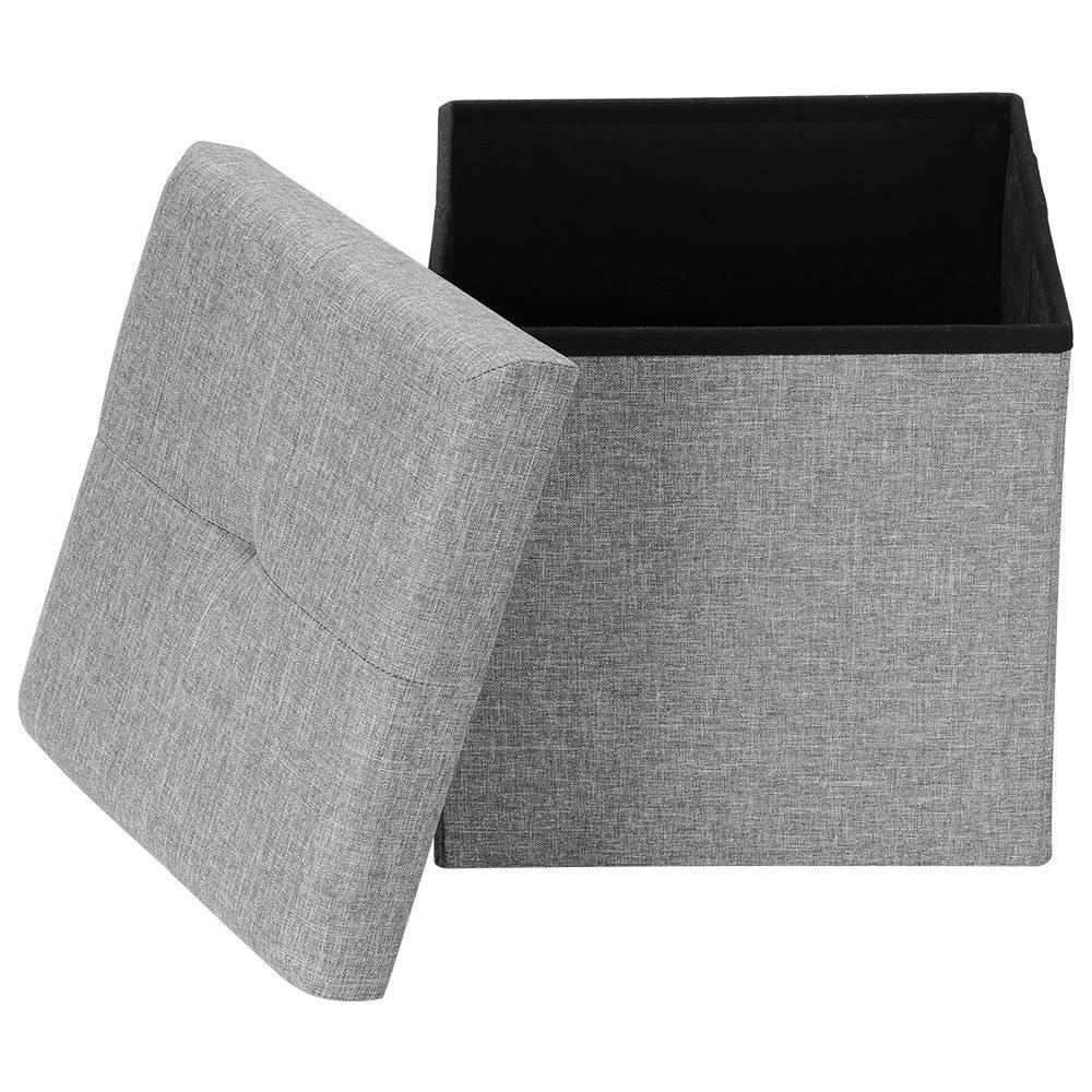 folding storage ottoman square foot rest stool bench seat poly linen grey sortwise