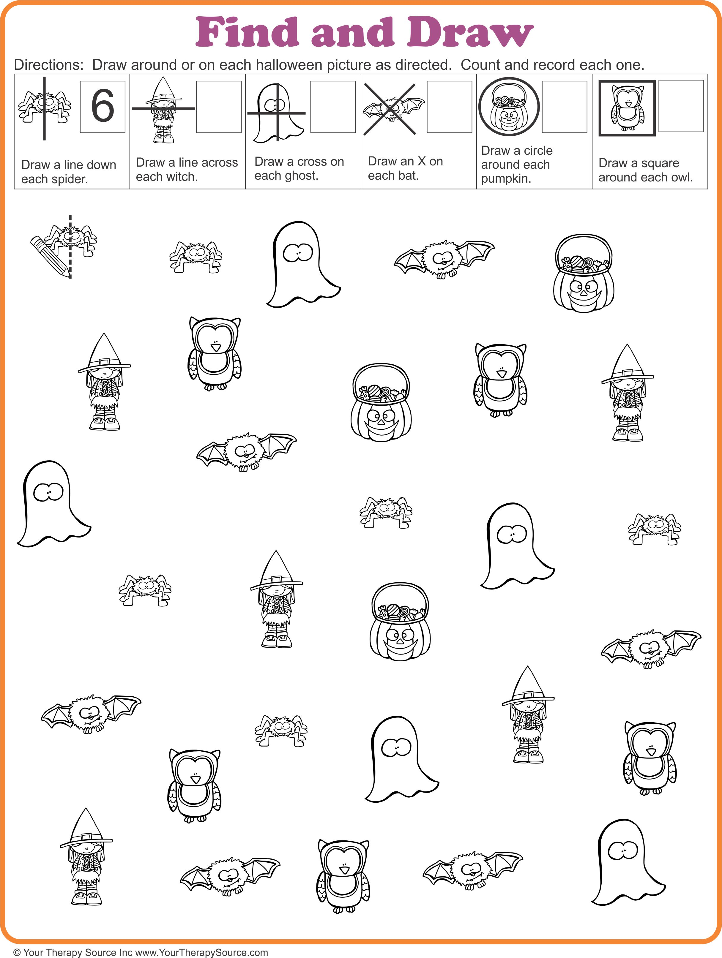 Find And Draw Visual Motor Activity For Halloween