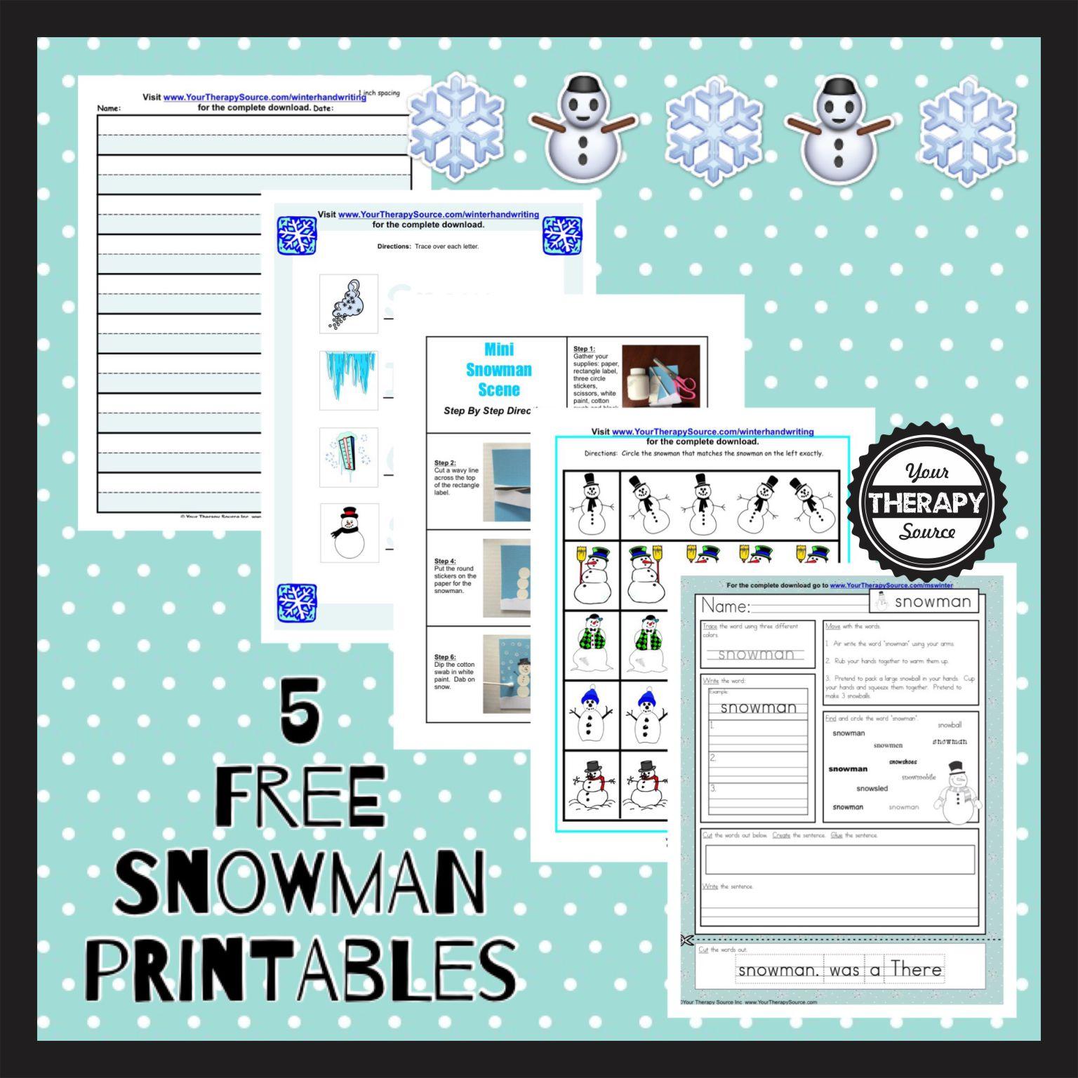 5 Free Snowman Printables
