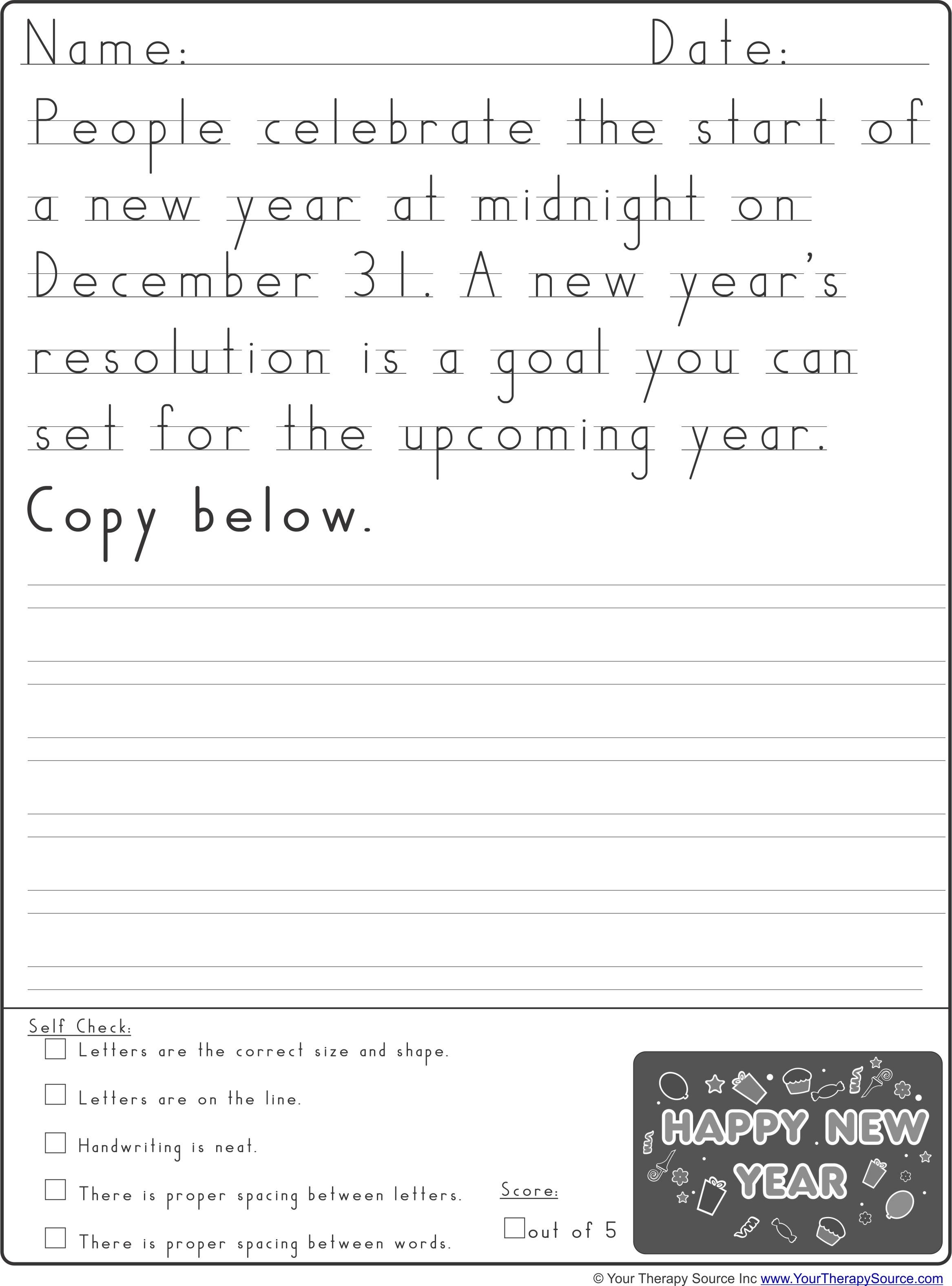 New Year Handwriting Practice