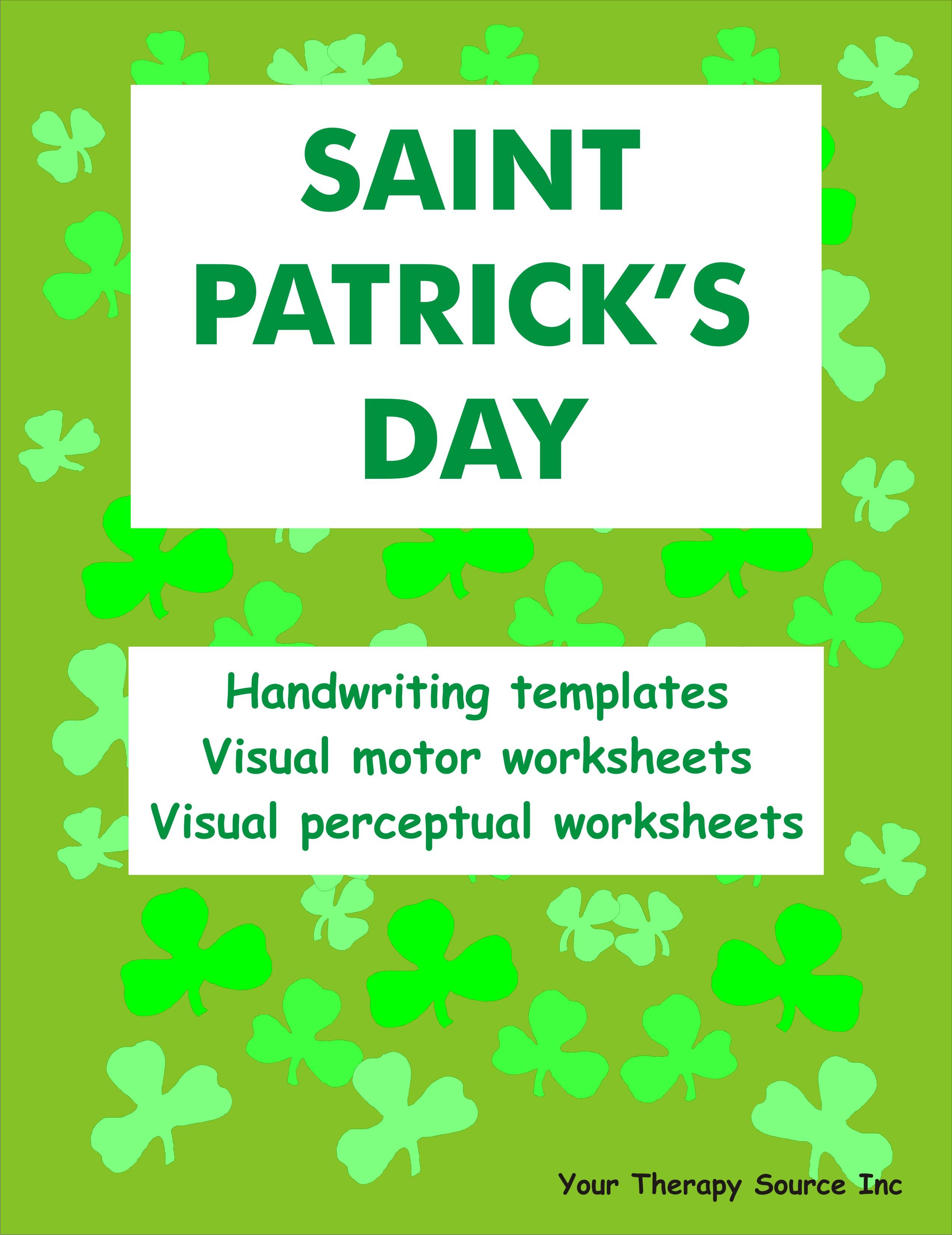 Saint Patrick S Day Handwriting Activities