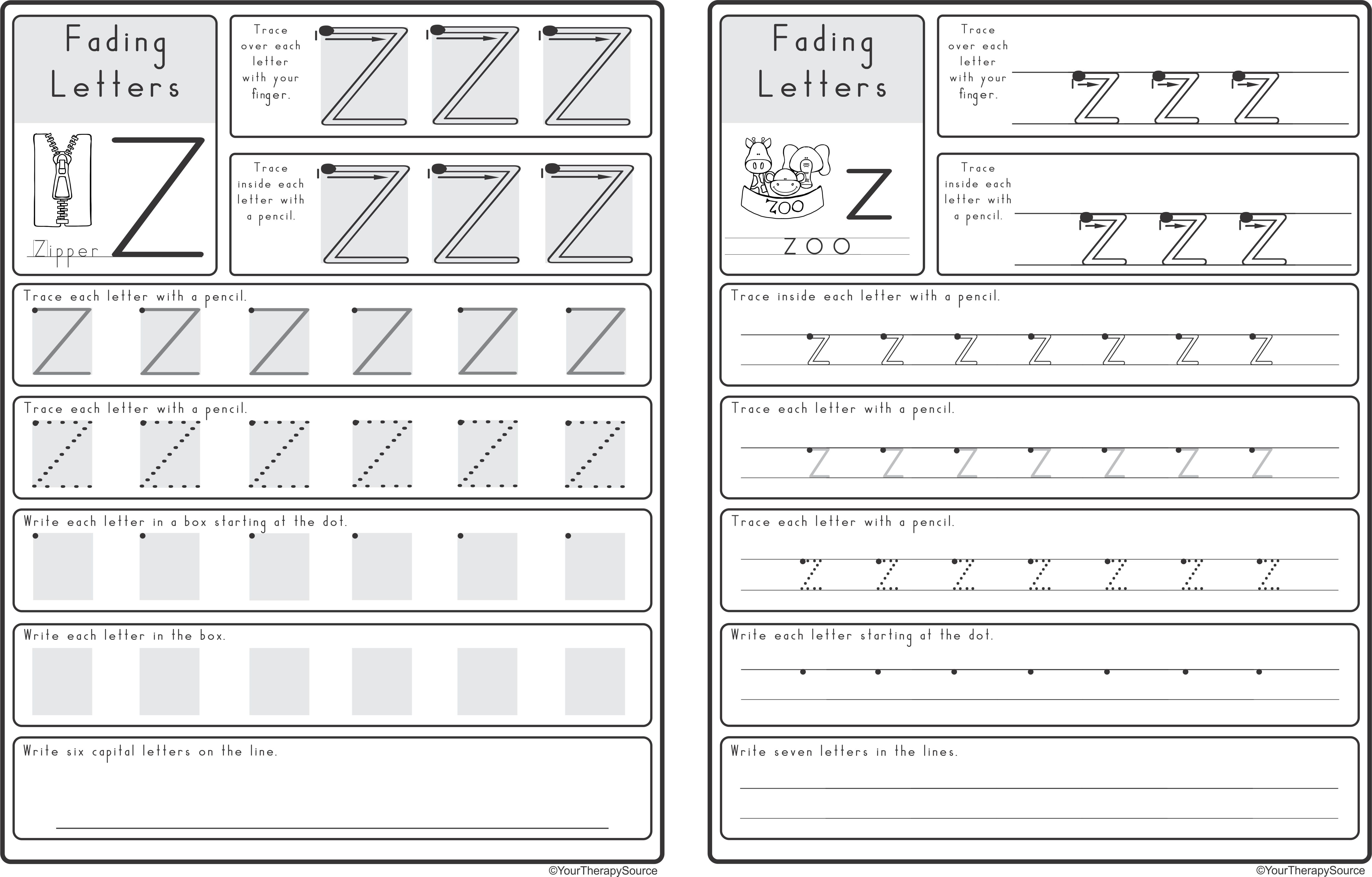 Zaner Bloser Tracing Worksheet